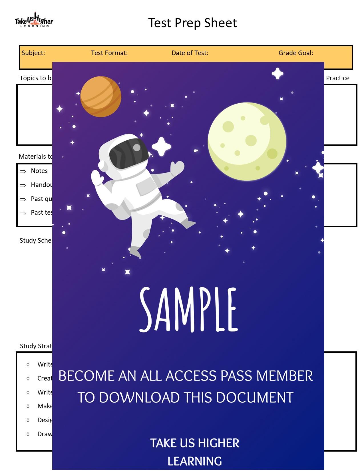 Test Prep Sheet