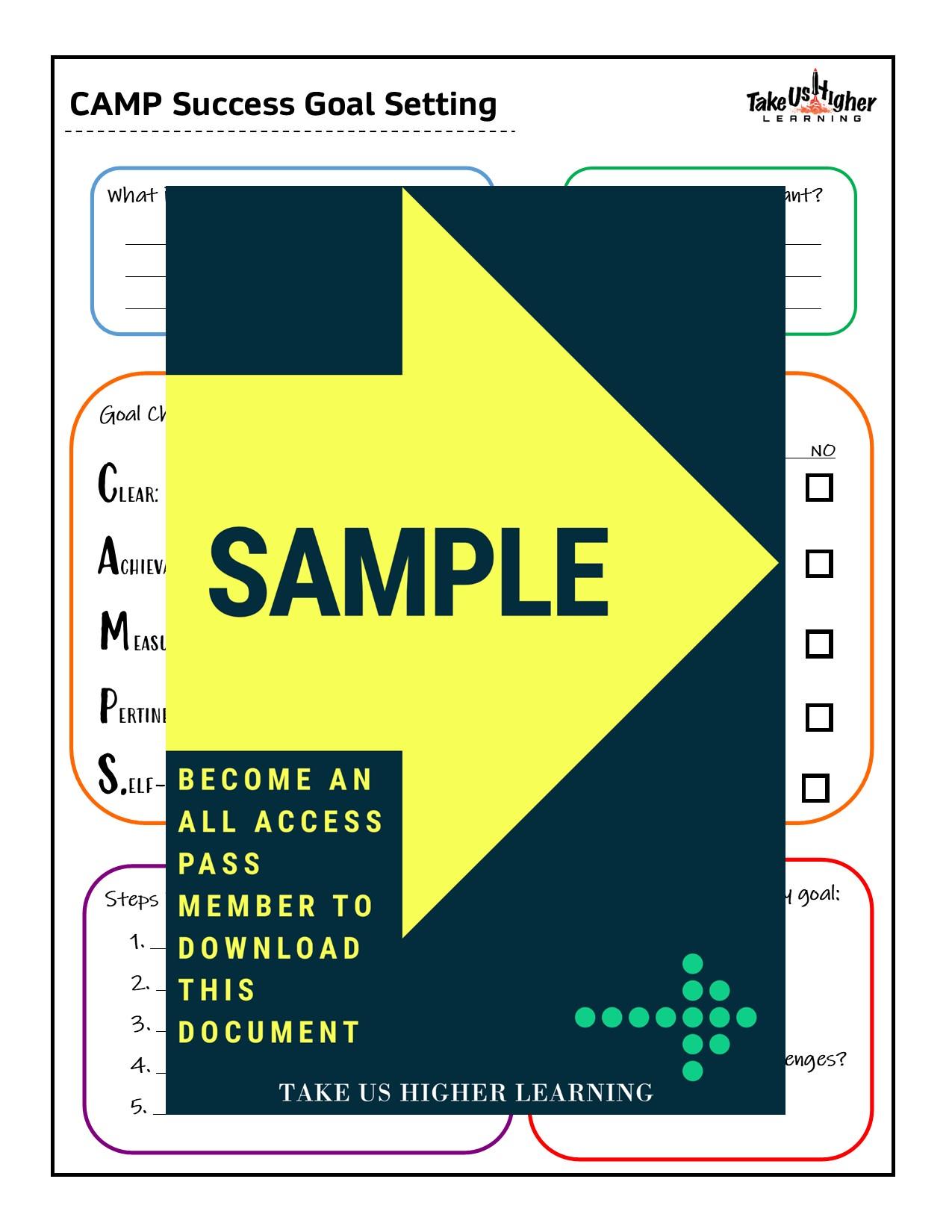 CAMP Success Goal Setting Worksheet